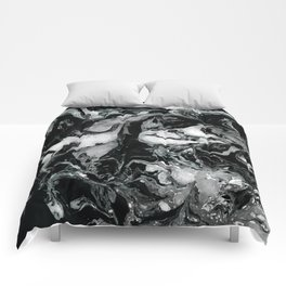 Black and white Marble texture acrylic paint art Comforters