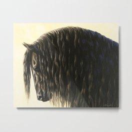 Black Friesian Draft Horse Metal Print