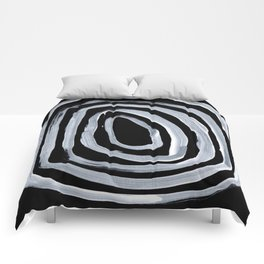 Rings Dark Gothic Black And White Minimalist Ghostly Abstract Art Comforters