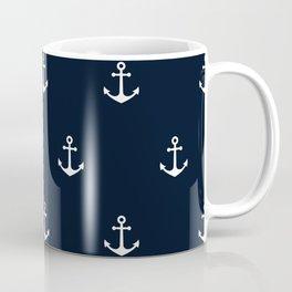 Dark Blue Anchor Pattern Coffee Mug