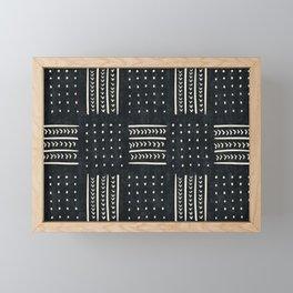 Mud cloth in black and white Framed Mini Art Print