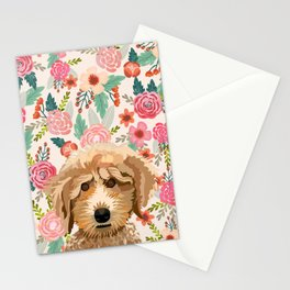 Poodle floral pet portrait dog breed gifts for pure breed dog lovers Stationery Cards