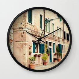 Teal Shutters Wall Clock