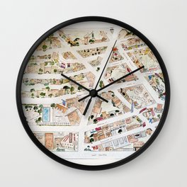 Greenwich Village Map by Harlem Sketches Wall Clock
