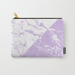 modern color block inverted white purple lavender marble pattern Carry-All Pouch