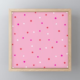confetti dots: pink red & white Framed Mini Art Print