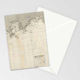 Vintage Map Print - Admiralty Chart No 1962 China Sheet II Eastern Coast, Hong Kong to Chelang, 1845 Stationery Cards