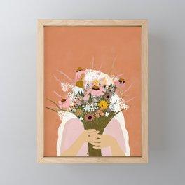 HIDING BEHIND THE FLOWERS illustration Framed Mini Art Print