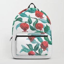 Persephone- Pomegranate Tree on White Backpack