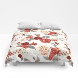 Vintage Coral Floral Bouquet Comforters