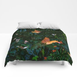 Elegant, Colorful Fantasy Butterflies in Flight Comforters