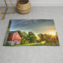Barn, Farm, Silo, Sunrise, Starburst Rug