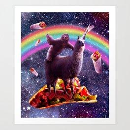 Space Sloth Riding Llama Unicorn - Taco & Burrito Art Print