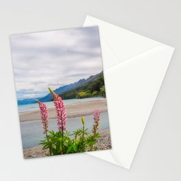 Lupin flowers in alpine scenery at Kinloch, NZ. Stationery Cards