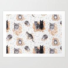 Le Chat Toile de Jouy Art Print