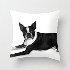 Fetch Boston Terrier B/W Throw Pillow