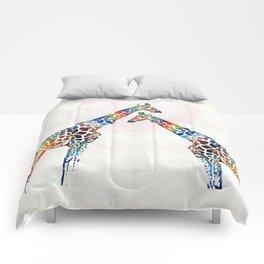 Colorful Giraffe Art - I've Got Your Back - By Sharon Cummings Comforters