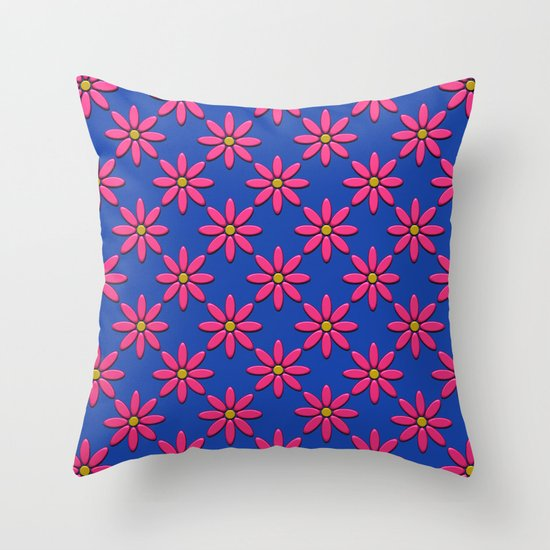 Pink Flowers on Blue Field Throw Pillow