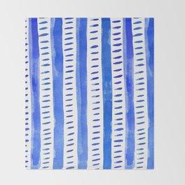 Watercolor lines - blue Throw Blanket