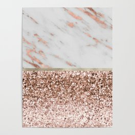 Warm chromatic - rose gold marble Poster