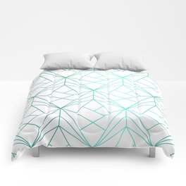 Geometric Turquoise Pattern Comforters