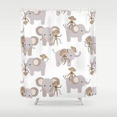 Monkey and elephant Shower Curtain