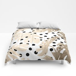 Simply Tropical White Gold Sands Palm Leaves on Dots Comforters