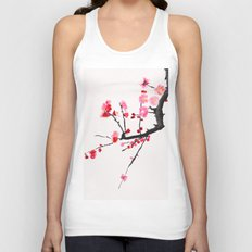 red plum flower red background Unisex Tank Top