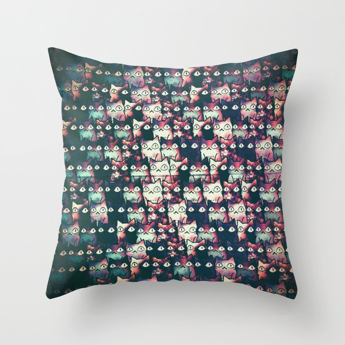 cats in owl 593 Throw Pillow