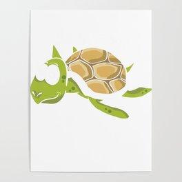 No Stress Funny Turtles Aquamarine Tortoise Reptiles Water Slider Marine Life Animals Gift Poster