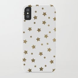 Modern gold Christmas stars geometric pattern iPhone Case