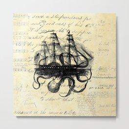 Kraken Octopus Attacking Ship Multi Collage Background Metal Print