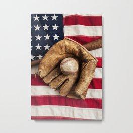Vintage Baseball on a American Flag Metal Print
