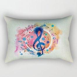 Fun Musical Notes and Treble Clef Paint Splatter Rectangular Pillow
