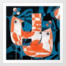 LEAFY BIRDS Art Print