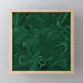 Modern Cotemporary Emerald Green Abstract Framed Mini Art Print