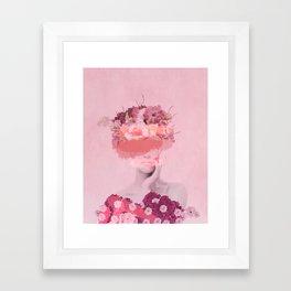 Woman in flowers Framed Art Print