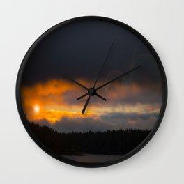 October Cloudy Sunset #decor #buyart #society6 Wall Clock
