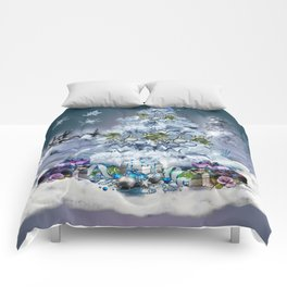Snowy Blue Christmas Scene Comforters