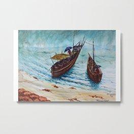 The Seaside view during monsoon season, fishermen returning back from work Metal Print