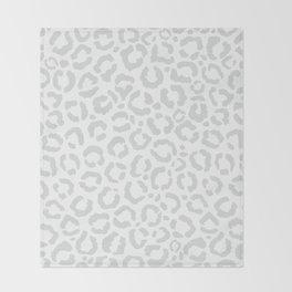 Elegant White Gray Leopard Cheetah Animal Print Throw Blanket