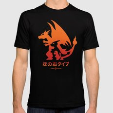 Mega Fire Black Mens Fitted Tee LARGE