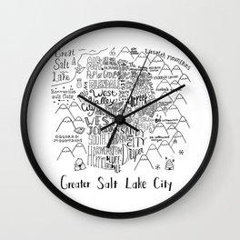 Salt Lake City Illustrated Map Wall Clock
