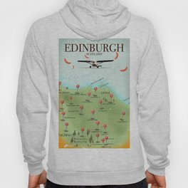 Edinburgh Scotland vintage style map poster Hoody