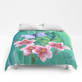 Butterfly with Orchids and Monstera Comforters
