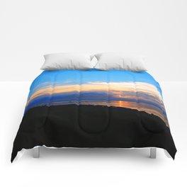Sunset Balcony silhouette Comforters