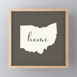 Ohio is Home - White on Charcoal Framed Mini Art Print