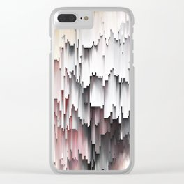 White Black Mauve Cascade Abstract Clear iPhone Case