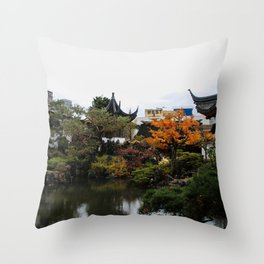 chinese garden - vancouver Throw Pillow