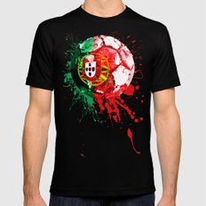 football Portugal  Black Mens Fitted Tee X-LARGE